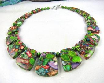 Bib Necklace STATEMENT NECKLACE  rainbow jasper nuggets giant chunky gemstone choker necklace