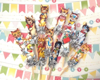 Vintage Cats Cupcake Toppers