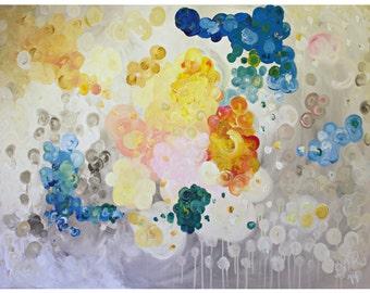Abstract Art, Wall Art, Home Decor, Art Print, Teal, Yellow, Pink, Orange, Grey, Neutral, Art Print