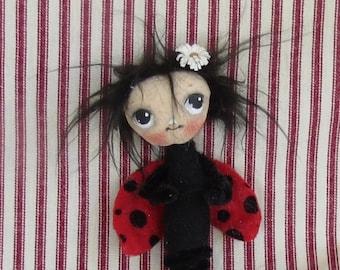 Valentine  ornament , Valentine gift , Valentine Ladybug ,hand made cloth doll bug, Valentine love bug .