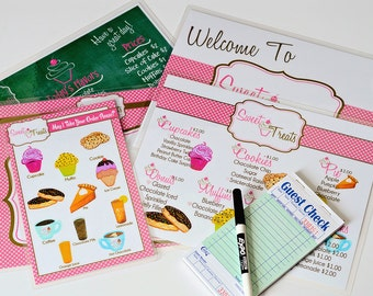 Childs Pretend Play Bakery Menu Set-Play Your Way Cafe