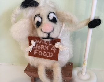 SPRING LAMB Needle Felted Handmade For Display