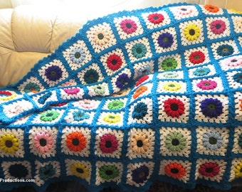 """Large Afghan Blanket - Tropical Island Colors - Bed, Couch, Dorm, Family Room, Fireplace, Stadium - Highly Textured - 58"""" x 70"""" - Item 4724"""