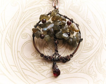 Wire Wrapped Tree of Life Necklace with Labradorite. Yggdrasil and the Moon. Pagan Wiccan Druid. The Hermit Tree