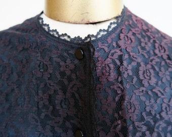 1950s - 60s lace blouse, vintage lace jacket, lace cardigan, M-L evening top,  60s, 50s fashion, rockabilly blouse, mad men fashion