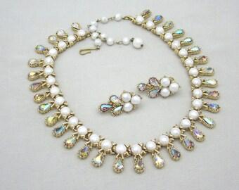 Coro Rhinestone Necklace Set, Coro Pearl Necklace Earrings Set, Vintage Coro Rhinestone Jewelry, Rhinestone Earrings Set Statement Jewelry