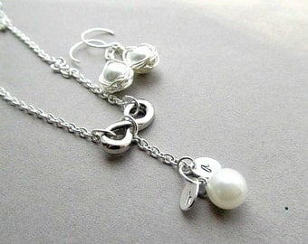 Love Is Infinite  Silver Earrings and Necklace Set - Infinity, Pearl, Bridal, Wedding, Anniversary Custom made