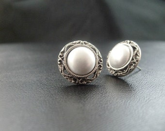 1920's Pearl Filigree Wedding Stud Earrings Vintage style