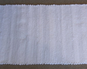 Handwoven Rag Rug - Fuzzy Soft White - 39 inches....(#115)