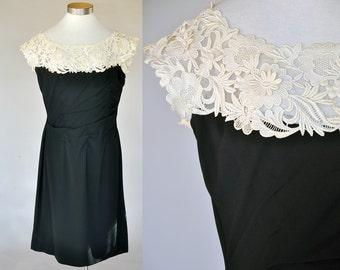 Claire Dress | vintage 50s black crepe rayon dress | ivory lace floral illusion neckline L XL