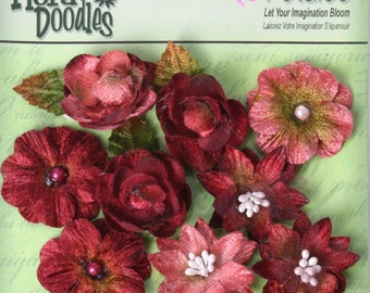 fabric flowers - Assorted mixed Blossoms Burgandy Pink 1263-002 - 9 fabric flowers with embellished centers