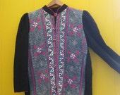 on sale Vintage Ethnic Jacket/Reversible/Ikat/Embroidered/Heavily Embellished/Bells/Tribal Clothing/Shibori/Black Linen/Ribbon JacketGeometr