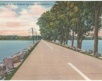Sand Bar Road Lake Champlain Vintage Linen Postcard