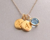 2 Gold Initial & Birthstone Charm Necklace - Birthstone Necklace - Custom Initial Necklace - Personalized Jewelry