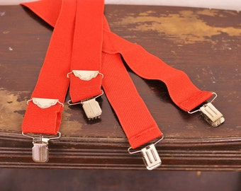 Mens Clip on Suspenders Braces Unisex Wide Bright Red Elastic Leather Patch Chunky Silver Hardware Folk Dapper Menswear