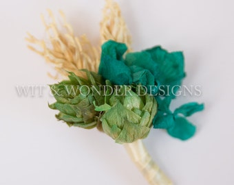 Teal Delight Hops Boutonniere Hydrangea and Barley
