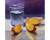 Purple Wall - Orange Slices and Glass Jar-Kitchen Still Life-Purple and Lavender