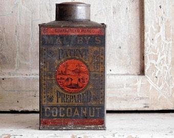 Antique Maltby's Cocoanut Tin, Primitive Kitchen Decor