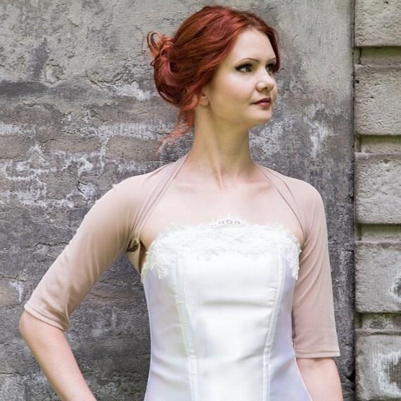 Sheer Beige Bolero Wedding Shrug Dark Beige Bridal Cover Up