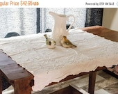 ON SALE Small vintage white tablecloth, embroidered eyelet design