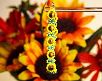 Sunflower bracelet, beaded bracelet, yellow flowers bracelet, Tigers eye beads, super duo beads, flower bracelet