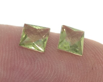 Peridot Modified Scissors Cut 5 mm Matched Pair Faceted Stones