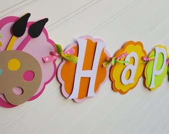Artist, Crayon, Paint brush Birthday OR Name banner in bright colors: Pink, aqua, yellow, purple.  Paint party