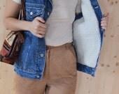 SALE Blue Denim Vest with faux Fur Lining VINTAGE 80s jeans vest