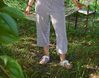 SALE Black and White Striped Cotton Pants Joggers VTG 90's