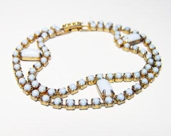 "Blue Milk Glass Bracelet, Vintage Glass Cabochon Bracelet in Pale Blue, 7 1/2"" Length, White Hot Summer SALE"
