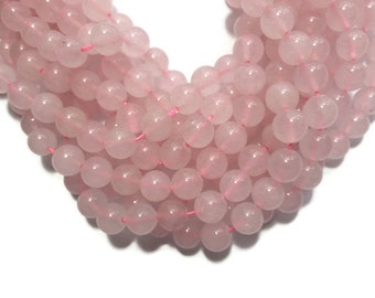 Rose Pink Jade - 6mm Round Bead - Full Strand -  63 beads - Pale Pink - Soft Pink - Imitation Rose Quartz