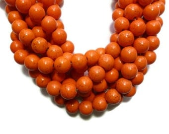 Orange Howlite - 12mm Round Bead - Full Strand - 33 beads - Pumpkin Carrot Persimmon - Synthetic Turquoise