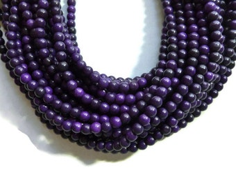 Purple Grape Howlite - 6mm Round Bead - Full Strand - 70 beads - Purple Eggplant Violet - synthetic turquoise