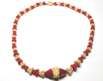 SALE Vintage 1920s Red & Tan Modernist Art Deco Czech Glass Necklace