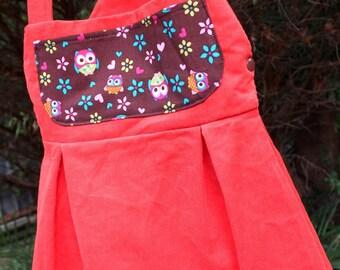 Orange Corduroy Love Bird Owls Overall Skirt Dress 3 year old