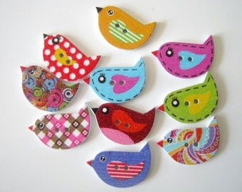 10 Wood Dove Bird Sewing Craft Buttons, 23x16mm, Sewing, Crafts, Scrapbooking