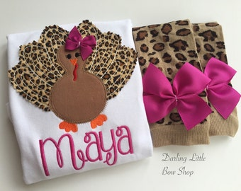 Baby Girl Thanksgiving Outfit bodysuit and leg warmers -- Turkey Glam -- fuchsia and leopard print personalized outfit for Thanksgiving