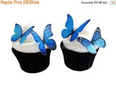 CHRISTMAS in JULY SALE Wedding Cake toppers - Blue Edible Butterflies - Edible Cupcake Decorations, Birthday Cake, Destination Wedding