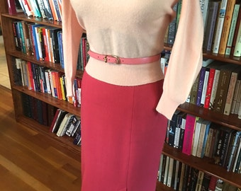 TIGHT SKIRT tight sweater-- Blush Pink 1950s High Waist Lined Wool Pencil Skirt- S