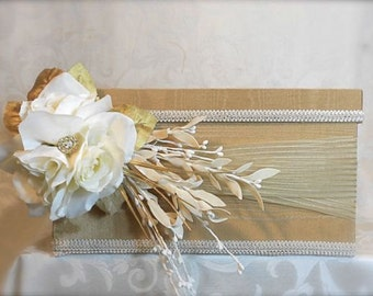 Program Box, Amenities Box, Floral Arrangement Cover Box Champagne, Ivory, Handmade, Custom Made, Elegantly.