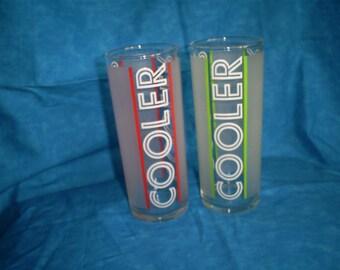SALE   Set of 2 Vintage COOLER Frosted Glasses. Was 12.00.