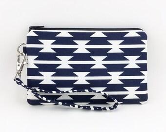 Cell Phone Wristlet, Small Clutch, Zipper Pouch, Gift idea, Padded - Arizona Tomahawk Dark Blue