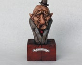 Old Vampire - Handmade Sculpture, Polymer Clay, Wood - Sale- UNIQUE