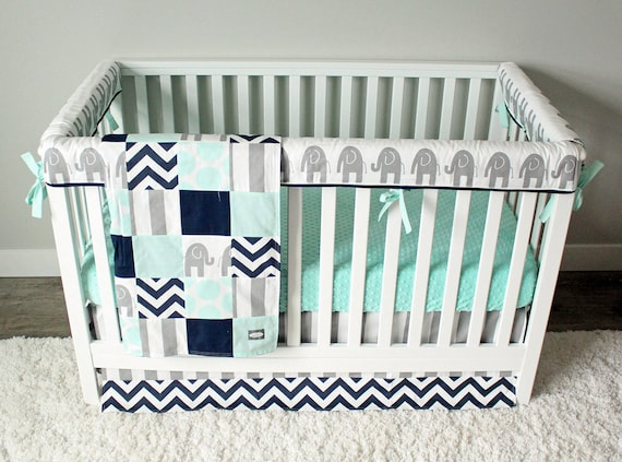 Elephant Baby Bedding Mint Gray And Navy Blue Nursery