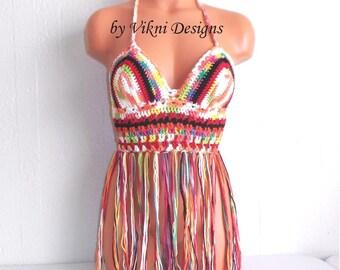 Vikni Crochet Festival Halter Tank Top in Multicolor, Bohemian Gypsy Fringe Top