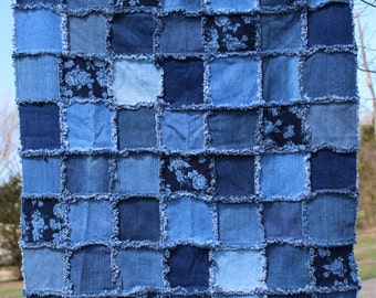 Denim Rag Quilt - Baby Blanket - Stroller or Car Seat Blanket