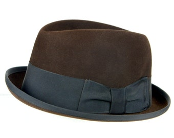 men's fedora, Stetson, hat, Royal Stetson, brown, 1950s, excellent condition, 7 1/2, John B. Stetson Co., sueded, grey olive, mid century,