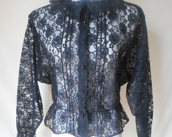 vintage 80s sheer black lace ruffled blouse M/L