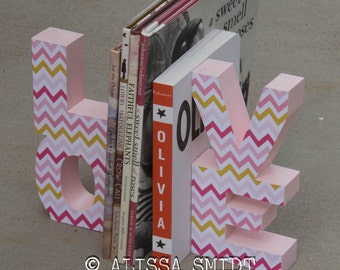 Bookends LOVE (wood bookends, pink, pale pink, light pink, baby girl, nursery decor, gold, chevron bookends, christmas gift)