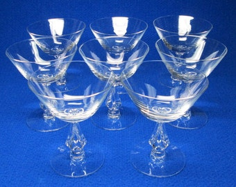 Fostoria SYMPHONY set of six glasses which are a champagne / tall sherbet size . pierced / hole / opening